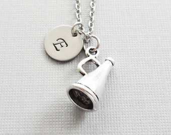 Megaphone Necklace, Cheerleader Necklace, Cheer Gift, Pep Squad, BFF, Friend, Silver Initial, Personalized Monogram, Hand Stamped Letter