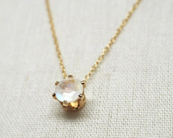 Rainbow Moonstone Gemstone Dainty Pendant Necklace \\ 14k Gold Filled Gold Pendant & Gold Chain \\ 6mm round \\ June Birthstone