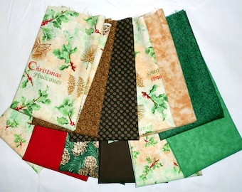 Christmas/Winter Fabric Fat Quarter Bundle 12pc. Pinecones/Holly/Thimbleberry/green/cream/tan/red/brown (#O46)