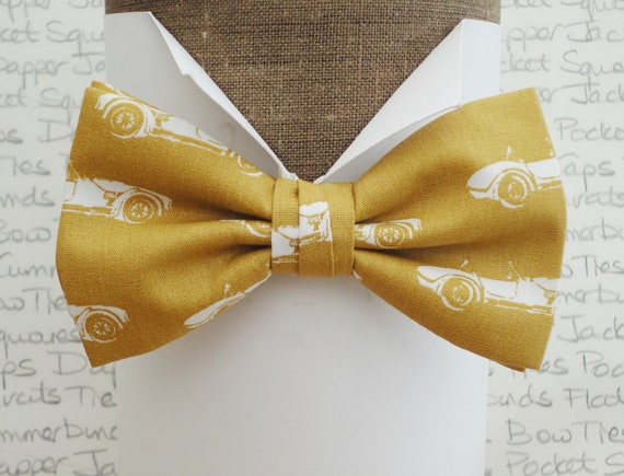 Bow tie, bow ties, bow ties for men, sports car print bow tie, ochre bow tie, mustard bow tie, self tie or pre tied bow tie