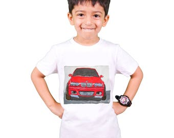 T-shirt painted for children- Car BMW - gift, hand painted