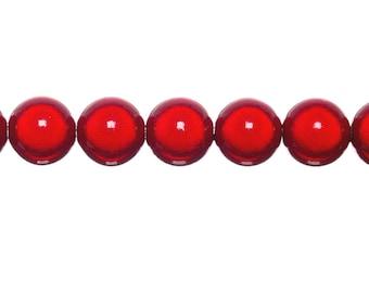 10 x 4mm - red magic round beads