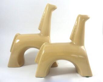 Vintage Giraffes, Set of Two, Modern Ceramic Figurines, Tan Glaze,  Abstract Modernistic Giraffe
