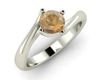 Certified 0.25 ct I1 - I2 Brown Diamond Solitaire Engagement Ring 14K White Gold