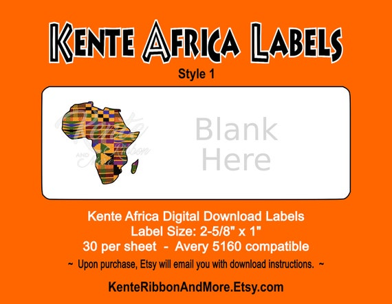 Diy Printable Kente Africa Return Label Template 30 On 85x11
