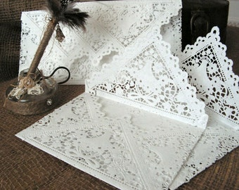Doily Paper Lace Envelopes, Handmade,White  , Wedding Invitation Liner, set of  100.