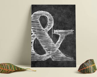 Ampersand print. Black and white modern art. Internet wall art. Ampersand poster. Modern Wall art. Minimalist wall art. Free shipping.