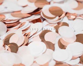 White Rose Gold Round Confetti, White Rose Gold Circle Confetti, Wedding Confetti, Bridal Shower, Rose Gold Confetti, Balloon Confetti
