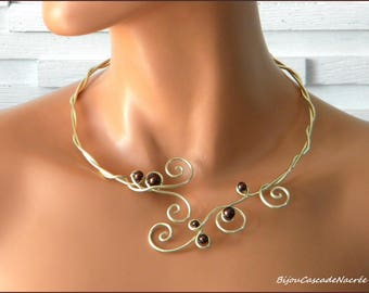 Ombeline aluminum chocolate champagne light gold Brown Pearl wedding necklace