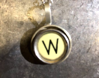 W Typewriter Key Pendant