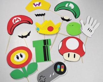 Mario photobooth props 14 pc**
