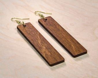 Wooden Laser Cut Column Earrings