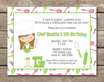 Kids Cooking Party Invitation, Baking Party Invitation, Cupcake Party Invitation, Chef Invitation, PRINTABLE