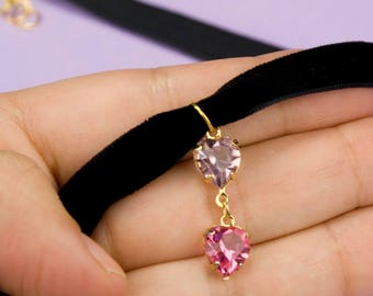 Crystal Charm Black Velvet Choker Festival Wear Summer Accessories Trendy Jewelry Silver Crest or Pink Hearts