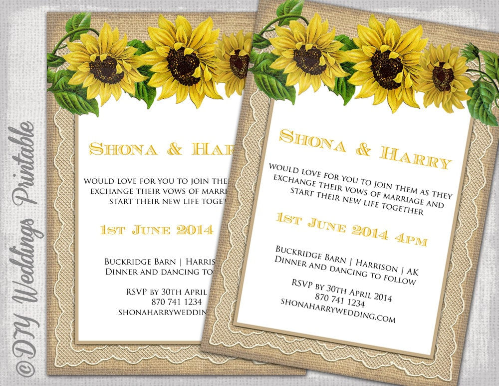 Country Wedding Invitation Template Rustic - Sunflower wedding invitations templates