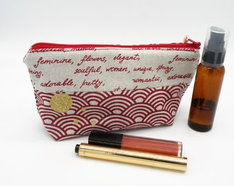 Clutch red makeup, toiletry bag, storage bag, travel pouch, makeup, women gift pouch