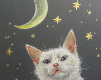CUSTOM CAT PORTRAIT Pastel drawing Lifelike Pet portrait from photos Personalized gift Original Art Cat Memorial Scenic Painting on request