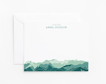 Personalized Flat Card Set of 12 | Custom Stationery Cards with Sierra Madres Mountain Illustration