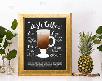 Irish Coffee Chalkboard Cocktail with Recipe - PRINTABLE Wall Art / Cocktails Mixed Drinks Wall Art / Hand Drawn Cocktails / Cocktails Print