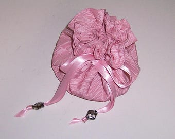 Pink Jewelry Pouch, 8 Pocket Pouch, Drawstring Jewel Bag, Jewelry Holder, Ladies Gift Idea, Shower Gift