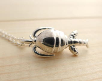 Copepod Pendant - Plankton Jewelry - Marine Biology - Science Jewelry - Sterling Silver Necklace - Scientist Jewelry - Metal 3D Printing