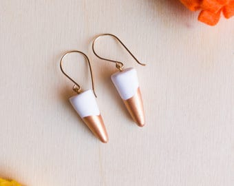 White Clay Copper Dipped Short Dangle Gold Filled Earrings