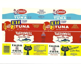4 Different Vintage Tuna Labels, 1970s