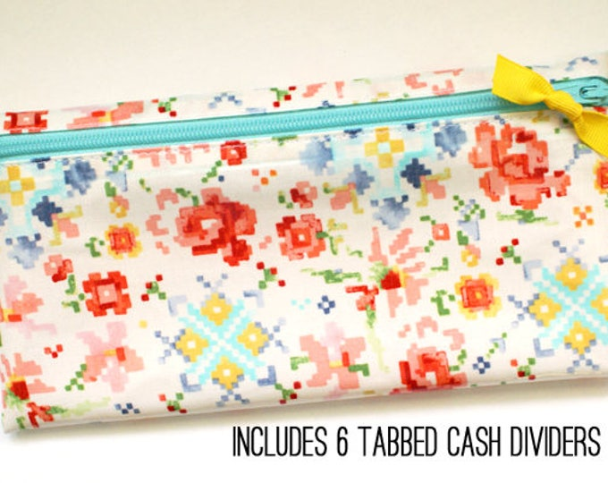 Watercolor envelope system wallet with 6 dividers