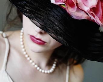 Schwarzen Hut, Downton Abbey Hut, Kentucky Derby Hut, Steeplechase Hut, Hochzeit Hut, Derby Hut, Tea-Party-Hut, große Krempe Hut, h-Style 2