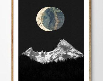 To the Mountains - Mountain Print, Mixed Media Collage Art, Surreal Painting, Forest Print, Moon Art