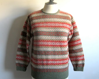 Vintage 1980s United Colors Jumper 80s Benetton Green Tomato Red Nordic Style Wool Sweater Small