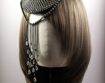 Rhinestone Swirl  Fascinator with Fringes and Crystal Drops