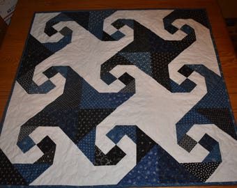 """SNAILS TRAIL in this all Black, Blue and White Table Topper or Mini Quilt  measuring 33.5"""" x 33.5"""""""