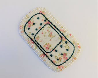 Teal Floral Bandaid Patch or pin