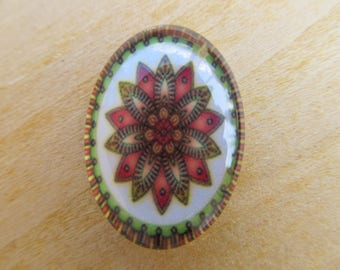 Set of 2 glass cabochon of oval 25x18x5mm with background scenery kaleidoscope image.