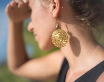 Golden Grass Earrings, Brazil jewelry, handmade jewelry, natural jewelry, natural earrings