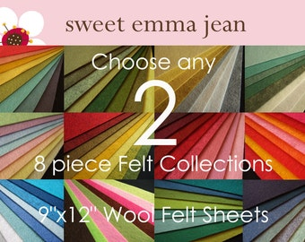 Choose any 2 eight piece Felt Collections - High Quality Wool Felt Assortments