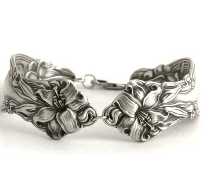 Stargazer Lily Bracelet, Bangle Bracelet, Sterling Silver Spoon Bracelet, Flower Frontenac Lilly, Flatware Jewelry Bracelet Size 7 8 (B6701)