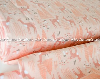 ORGANIC Flannel Roam Free Pink print,Organic Flannel For Baby, Children, Coral Flannel from Field Day Collection Cloud9 Collection