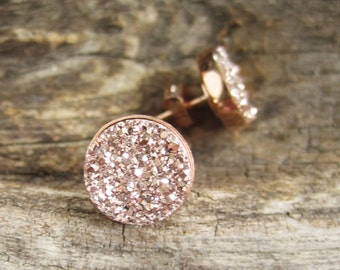Rose Gold Druzy Studs, Rose Gold Druzy Earrings, Rose Gold Studs, Druzy Quartz Jewelry, Druzy Quartz Jewelry, Rose Gold Earrings