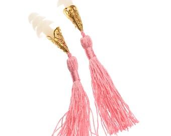 Breakfast at Tiffany's Inspired Tassel Earplugs in Pink
