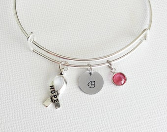 Hope Bracelet, Hope Ribbon Bangle, Silver Initial Bangle, Personalized, Expandable, Charm Bracelet, Swarovski Birthstone, BFF, Best Friend