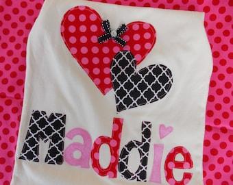 Valentine Baby  Valentine shirt Girls   Valentine shirt  monogram shirt heart  appliqué  personalized pink heart