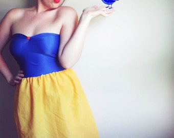 Snow White Babydoll Inspired Costume Halloween Strapless Party Apple Dress