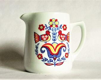 "Scandinavian Style Two Birds and Flower Vintage Berggren Creamer - Swedish Pennsylvania Dutch Motif Small White Porcelain Pitcher 3 1/2""Tall"