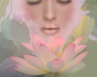 Lotus Flower, Beautiful Woman, Decor, Archival Print, Original Painting, Dreamlike, Soft Colors, Wall Decor