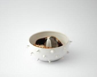 Spiky white ceramic ring and bracelet holder/ spiky bowl/ ring dish/ pottery/ white ceramic dish
