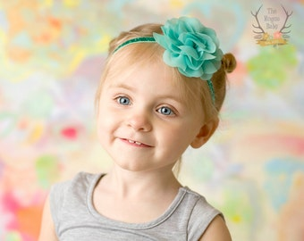 Aqua Glitter Baby Headband - Chiffon Rose Flower - Photo Prop - Newborn Infant Toddler Girls Adult Wedding Pastel Light Aqua Baby Headband