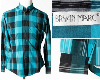 Vintage Men's Shirt Bryan Marc - 80s Retro Long Sleeve Button Down Large L
