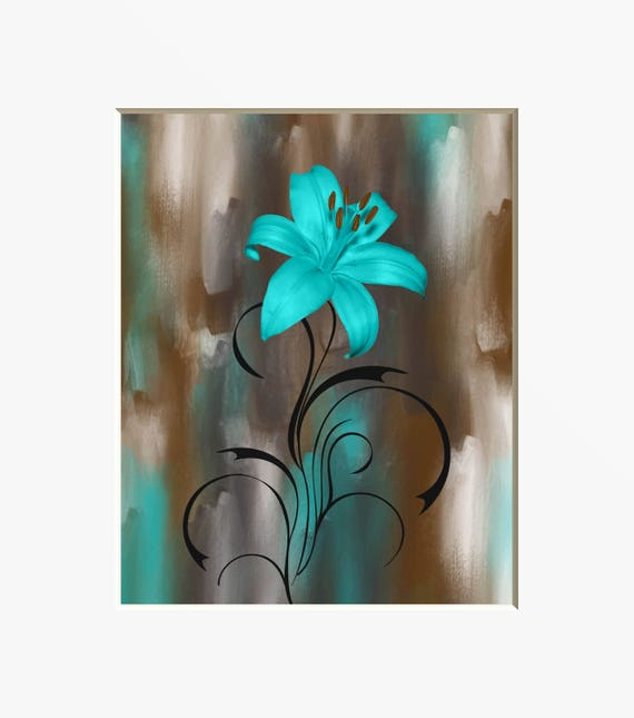 teal brown modern wall decor lily flower teal picture. Black Bedroom Furniture Sets. Home Design Ideas